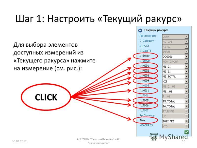 Шаг 1: Настроить «Текущий ракурс» 28.07.2012 АО ФНБ Самрук-Казына - АО Казахтелеком 16 Для выбора элементов доступных измерений из «Текущего ракурса» нажмите на измерение (см. рис.): CLICK
