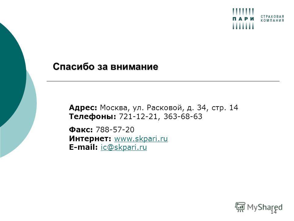 14 Спасибо за внимание Адрес: Москва, ул. Расковой, д. 34, стр. 14 Телефоны: 721-12-21, 363-68-63 Факс: 788-57-20 Интернет: www.skpari.ru E-mail: ic@skpari.ruwww.skpari.ruic@skpari.ru