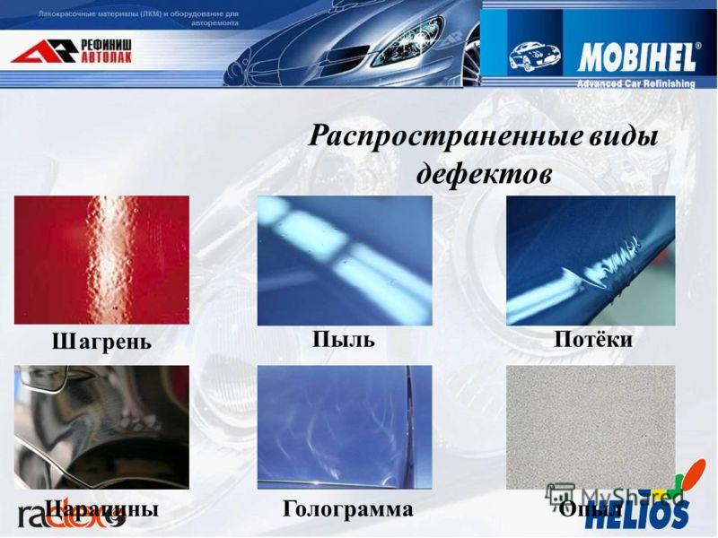 Распространенные виды дефектов Шагрень ПыльПотёкиЦарапиныОпылГолограмма