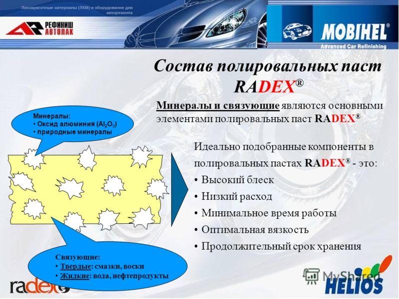 Идеально подобранные компоненты в полировальных пастах RADEX ® - это: Высокий блеск Низкий расход Минимальное время работы Оптимальная вязкость Продолжительный срок хранения Минералы и связующие являются основными элементами полировальных паст RADEX