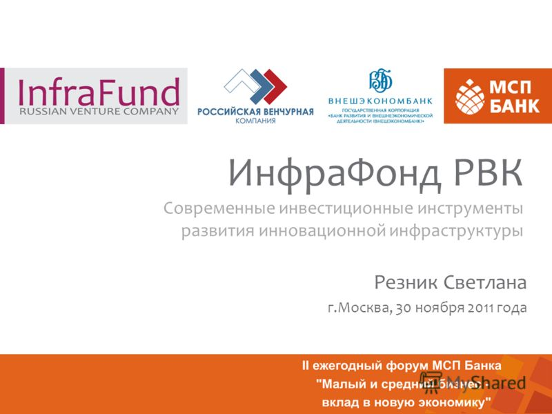 ИнфраФонд РВК Современные инвестиционные инструменты развития инновационной инфраструктуры Резник Светлана г.Москва, 30 ноября 2011 года