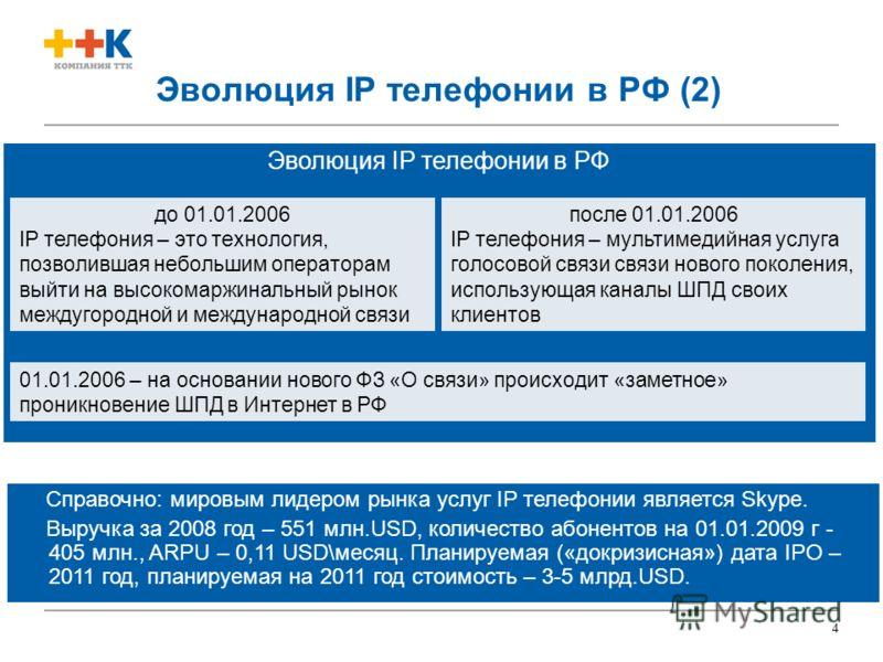 4 Эволюция IP телефонии в РФ (2) Эволюция IP телефонии в РФ Справочно: мировым лидером рынка услуг IP телефонии является Skype. Выручка за 2008 год – 551 млн.USD, количество абонентов на 01.01.2009 г - 405 млн., ARPU – 0,11 USD\месяц. Планируемая («д