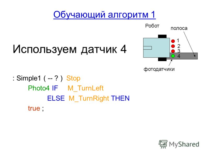 Обучающий алгоритм 1 Используем датчик 4 : Simple1 ( -- ? ) Stop Photo4 IF M_TurnLeft ELSE M_TurnRight THEN true ; 1 2 3 4 Робот фотодатчики полоса