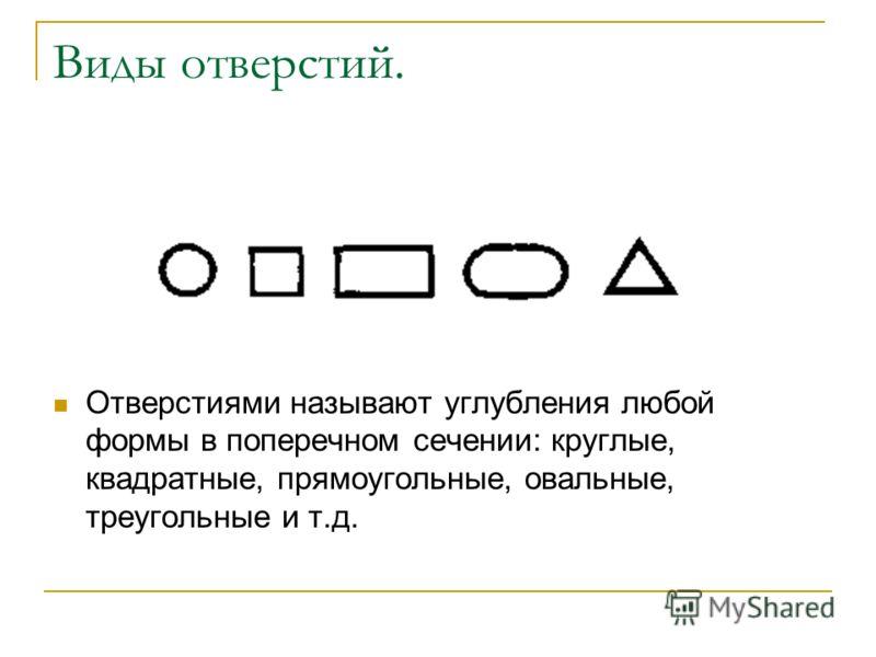 Виды отверстий. Отверстиями называют углубления любой формы в поперечном сечении: круглые, квадратные, прямоугольные, овальные, треугольные и т.д.