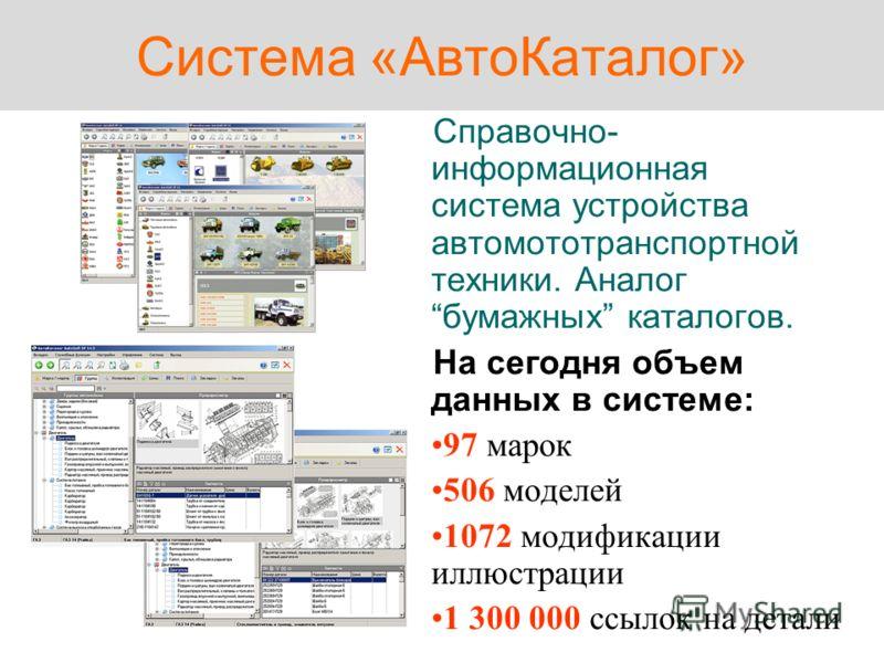 Система «АвтоКаталог» Справочно- информационная система устройства автомототранспортной техники. Аналогбумажных каталогов. На сегодня объем данных в системе: 97 марок 506 моделей 1072 модификации иллюстрации 1 300 000 ссылок на детали