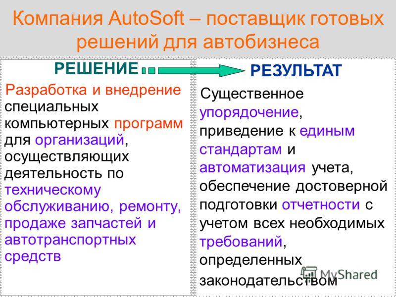 Компания AutoSoft – поставщик готовых решений для автобизнеса РЕШЕНИЕ Разработка и внедрение специальных компьютерных программ для организаций, осуществляющих деятельность по техническому обслуживанию, ремонту, продаже запчастей и автотранспортных ср