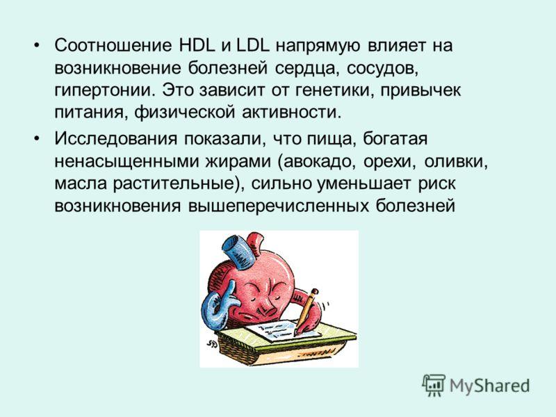 Соотношение HDL и LDL напрямую влияет на возникновение болезней сердца, сосудов, гипертонии. Это зависит от генетики, привычек питания, физической активности. Исследования показали, что пища, богатая ненасыщенными жирами (авокадо, орехи, оливки, масл