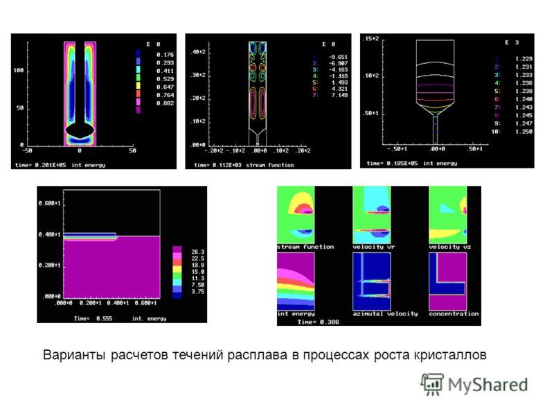 Варианты расчетов течений расплава в процессах роста кристаллов