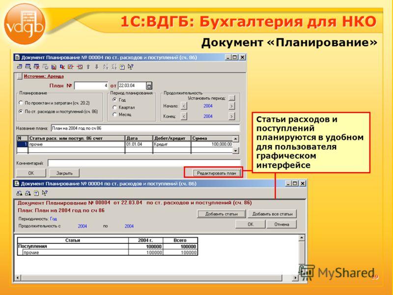 19 Документ «Планирование» Статьи расходов и поступлений планируются в удобном для пользователя графическом интерфейсе 1С:ВДГБ: Бухгалтерия для НКО
