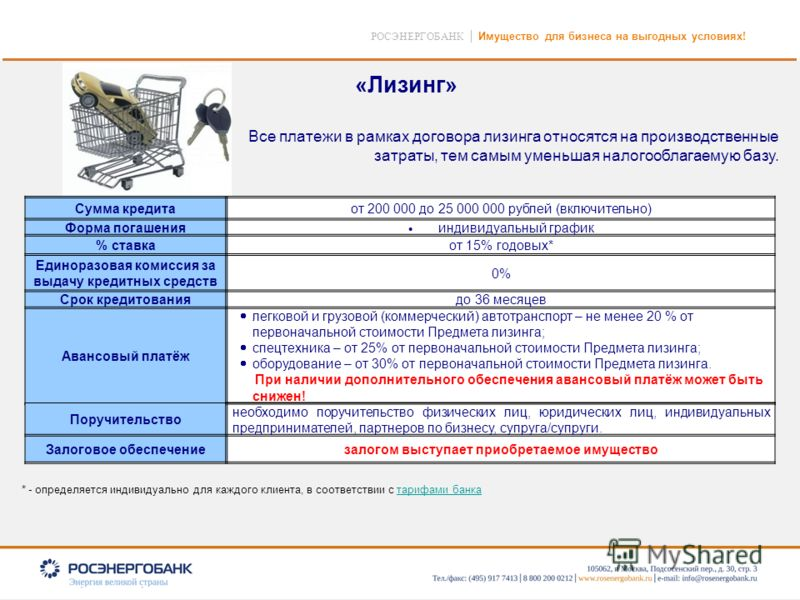 8 РОСЭНЕРГОБАНК Имущество для бизнеса на выгодных условиях! Все платежи в рамках договора лизинга относятся на производственные затраты, тем самым уменьшая налогооблагаемую базу. Сумма кредитаот 200 000 до 25 000 000 рублей (включительно) Форма погаш
