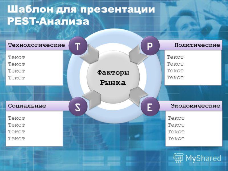 Текст Факторы Рынка Политические P Текст Экономические E Текст Социальные S Текст Технологические T Шаблон для презентации PEST-Анализа