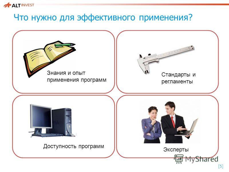 [5][5] Что нужно для эффективного применения? Знания и опыт применения программ Стандарты и регламенты Доступность программ Эксперты