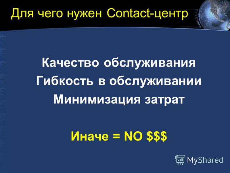 Для чего нужен Contact-центр Качество обслуживания Гибкость в обслуживании Минимизация затрат Иначе = NO $$$