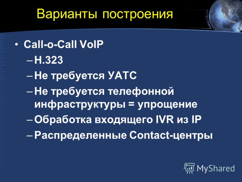 Варианты построения Call-o-Call VoIP –H.323 –Не требуется УАТС –Не требуется телефонной инфраструктуры = упрощение –Обработка входящего IVR из IP –Распределенные Contact-центры