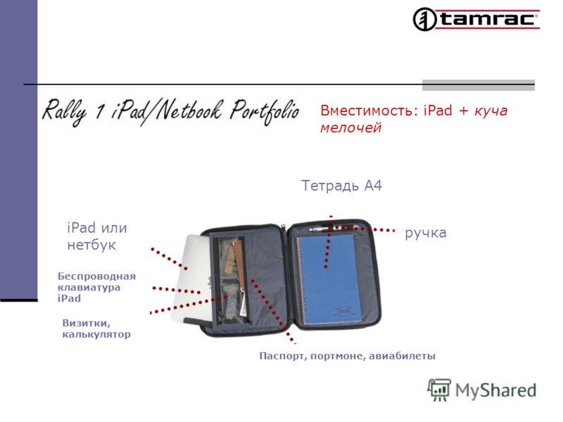 Вместимость: iPad + куча мелочей ручка Тетрадь А4 iPad или нетбук Беспроводная клавиатура iPad Визитки, калькулятор Паспорт, портмоне, авиабилеты