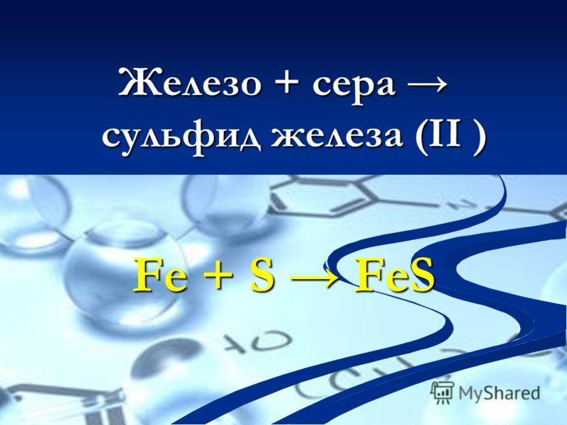 Железо + сера сульфид железа (II ) Fe + S FeS
