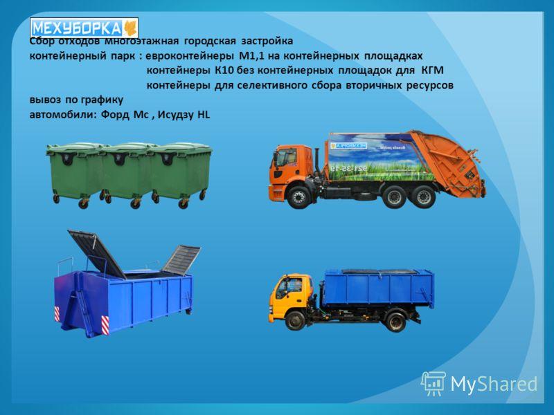 Сбор отходов многоэтажная городская застройка контейнерный парк : евроконтейнеры М1,1 на контейнерных площадках контейнеры К10 без контейнерных площадок для КГМ контейнеры для селективного сбора вторичных ресурсов вывоз по графику автомобили: Форд Мс