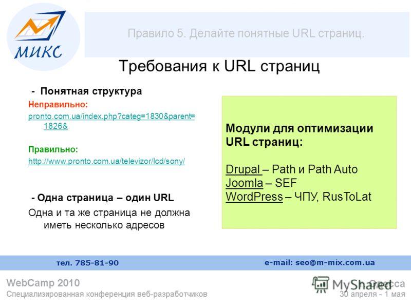 Правило 5. Делайте понятные URL страниц. Требования к URL страниц - Понятная структура Неправильно: pronto.com.ua/index.php?categ=1830&parent= 1826& Правильно: http://www.pronto.com.ua/televizor/lcd/sony/ - Одна страница – один URL Одна и та же стран