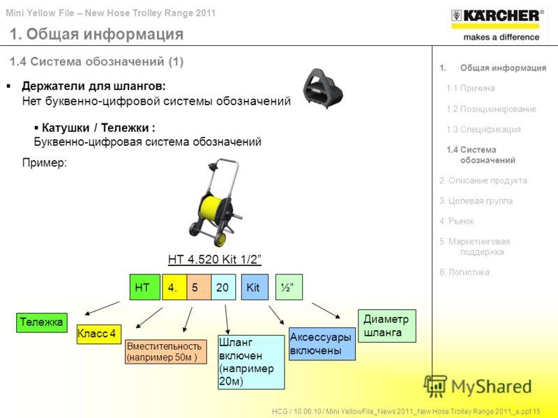 Mini Yellow File – New Hose Trolley Range 2011 HCG / 10.06.10 / Mini YellowFile_News 2011_New Hose Trolley Range 2011_e.ppt 15 1.4 Система обозначений (1) HT Тележка Вместительность (например 50м ) Класс 4 Шланг включен (например 20м) Аксессуары вклю