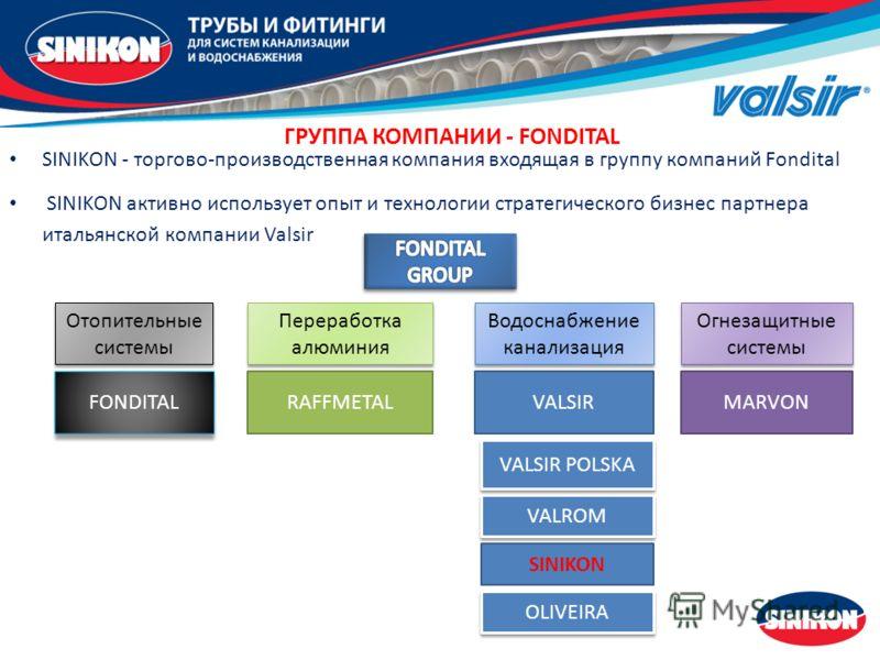 SINIKON - торгово-производственная компания входящая в группу компаний Fondital SINIKON активно использует опыт и технологии стратегического бизнес партнера итальянской компании Valsir VALROM ГРУППА КОМПАНИЙ - FONDITAL Водоснабжение канализация Перер