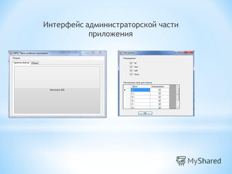 Интерфейс администраторской части приложения