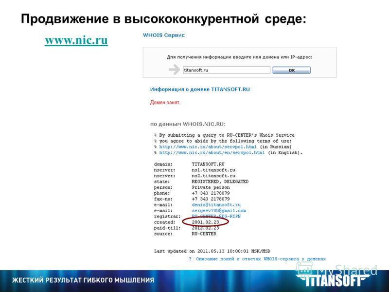 www.nic.ru Продвижение в высококонкурентной среде: