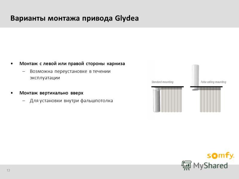 13 Монтаж с левой или правой стороны карниза –Возможна переустановке в течении эксплуатации Монтаж вертикально вверх –Для установки внутри фальшпотолка Варианты монтажа привода Glydea