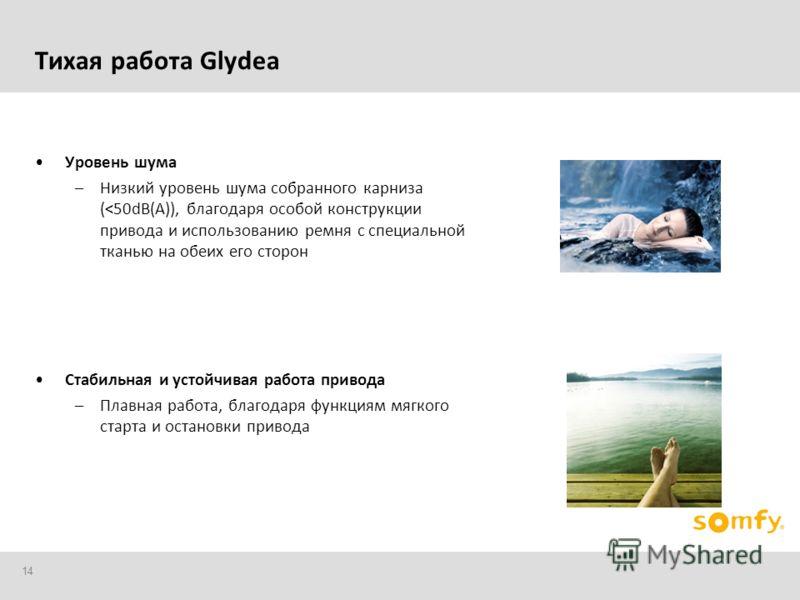 14 Тихая работа Glydea Уровень шума –Низкий уровень шума собранного карниза (