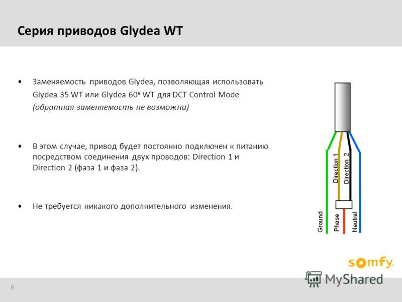 8 Заменяемость приводов Glydea, позволяющая использовать Glydea 35 WT или Glydea 60 e WT для DCT Control Mode (обратная заменяемость не возможна) В этом случае, привод будет постоянно подключен к питанию посредством соединения двух проводов: Directio