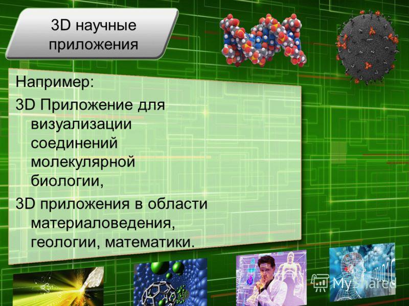 3D научные приложения Например: 3D Приложение для визуализации соединений молекулярной биологии, 3D приложения в области материаловедения, геологии, математики.