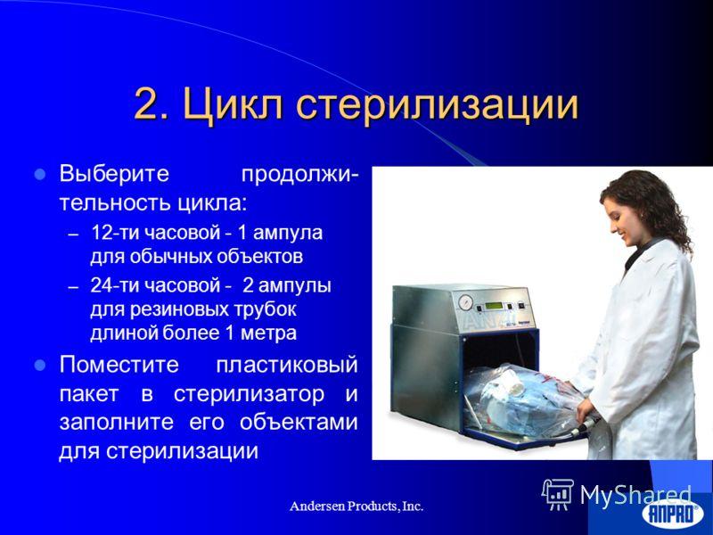 Andersen Products, Inc. 1. Подготовка к циклу Соберите все объекты Вымойте объекты до состояния «Хирургические чистый» Протрите объекты полотенцем, но не высушивайте! Разложите объекты по разным пакетам, например… – Ткань – Бумага – Пластики – и т.п.