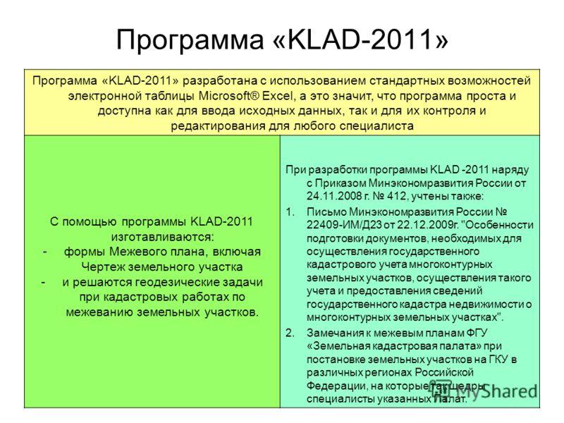 Программа «KLAD-2011» разработана с использованием стандартных возможностей электронной таблицы Microsoft® Excel, а это значит, что программа проста и доступна как для ввода исходных данных, так и для их контроля и редактирования для любого специалис