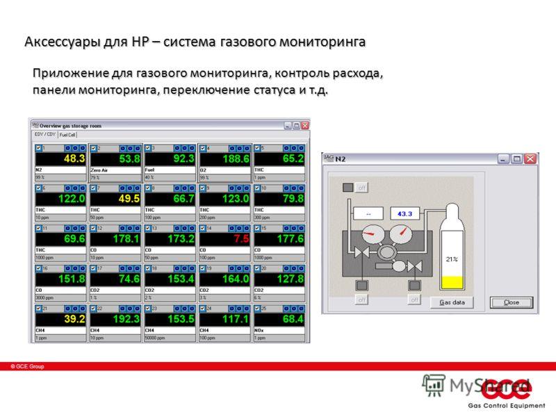 © GCE Group Приложение для газового мониторинга, контроль расхода, панели мониторинга, переключение статуса и т.д. Аксессуары для HP – система газового мониторинга