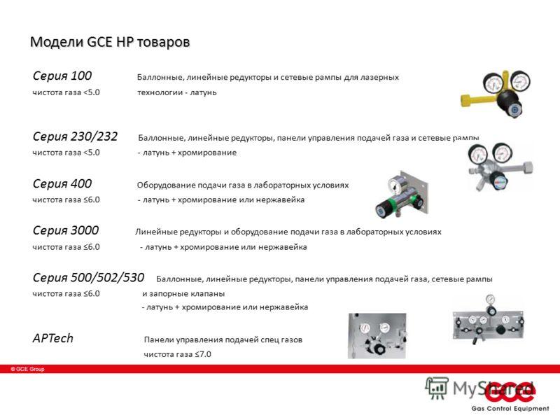 © GCE Group Модели GCE HP товаров Серия 100 Баллонные, линейные редукторы и сетевые рампы для лазерных чистотa газа