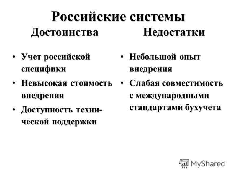 Российские системы Достоинства Недостатки Учет российской спецификиУчет российской специфики Невысокая стоимость внедренияНевысокая стоимость внедрения Доступность техни- ческой поддержкиДоступность техни- ческой поддержки Небольшой опыт внедренияНеб