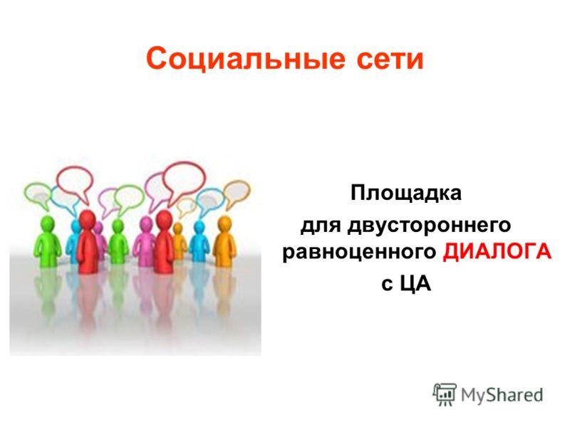 Социальные сети Площадка для двустороннего равноценного ДИАЛОГА с ЦА