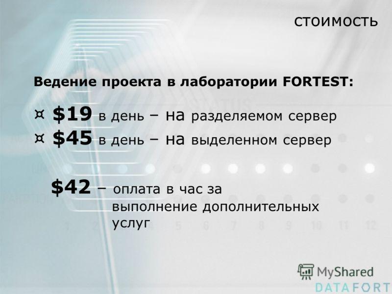 стоимость Ведение проекта в лаборатории FORTEST: ¤ $19 в день – на разделяемом сервер ¤ $45 в день – на выделенном сервер $42 – оплата в час за выполнение дополнительных услуг