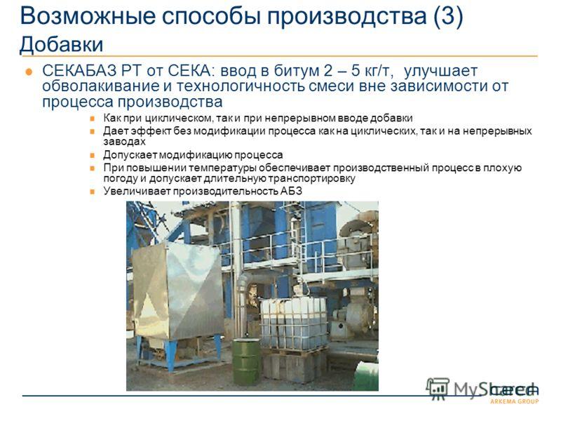 Возможные способы производства (3) Добавки СЕКАБАЗ РТ от СЕКА: ввод в битум 2 – 5 кг/т, улучшает обволакивание и технологичность смеси вне зависимости от процесса производства Как при циклическом, так и при непрерывном вводе добавки Дает эффект без м