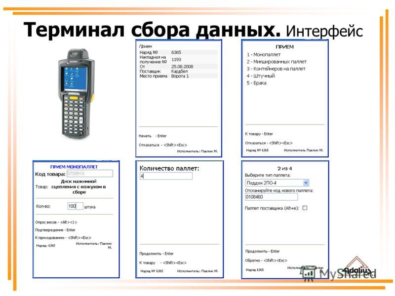 Терминал сбора данных. Интерфейс