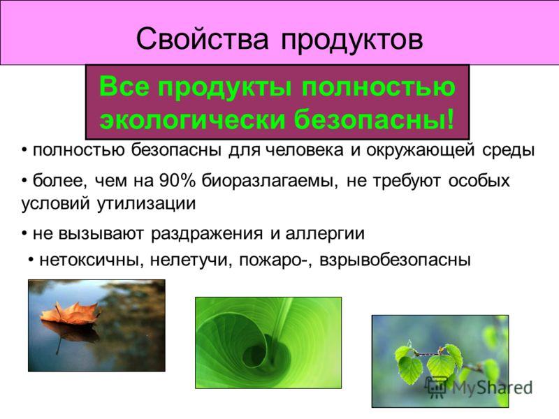 Свойства продуктов полностью безопасны для человека и окружающей среды более, чем на 90% биоразлагаемы, не требуют особых условий утилизации не вызывают раздражения и аллергии нетоксичны, нелетучи, пожаро-, взрывобезопасны Все продукты полностью экол