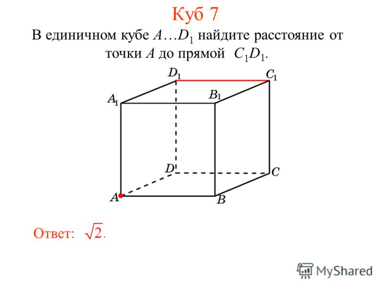 В единичном кубе A…D 1 найдите расстояние от точки A до прямой C 1 D 1. Ответ: Куб 7