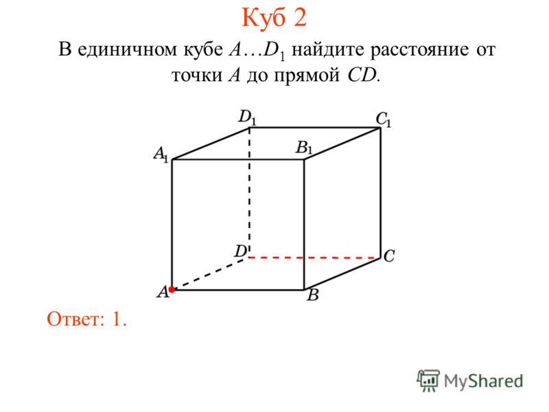 В единичном кубе A…D 1 найдите расстояние от точки A до прямой CD. Ответ: 1. Куб 2