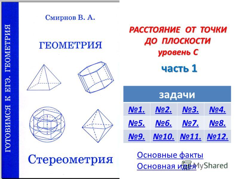 РАССТОЯНИЕ ОТ ТОЧКИ ДО ПЛОСКОСТИ уровень С часть 1 задачи 1.2.3.4. 5.6.7.8. 9.10.11.12. Основные факты Основная идея