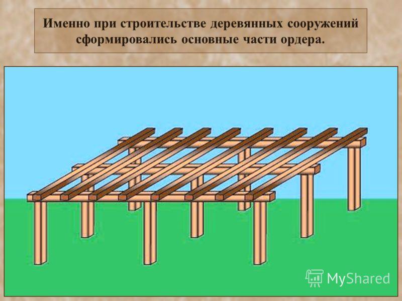 Именно при строительстве деревянных сооружений сформировались основные части ордера.
