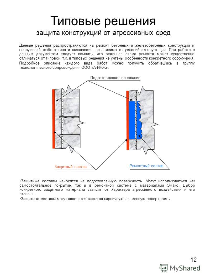 12 Типовые решения защита конструкций от агрессивных сред Данные решения распространяются на ремонт бетонных и железобетонных конструкций и сооружений любого типа и назначения, независимо от условий эксплуатации. При работе с данным документом следуе