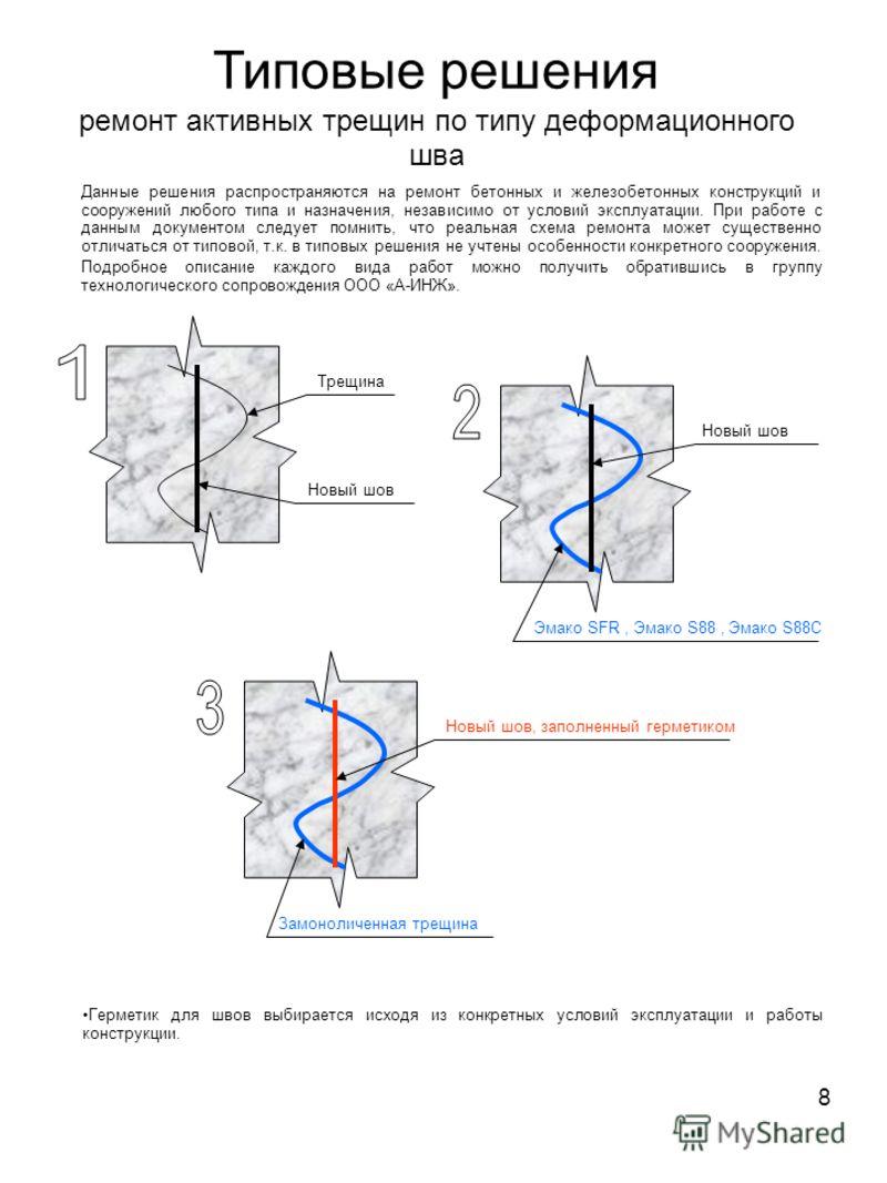 8 Типовые решения ремонт активных трещин по типу деформационного шва Данные решения распространяются на ремонт бетонных и железобетонных конструкций и сооружений любого типа и назначения, независимо от условий эксплуатации. При работе с данным докуме