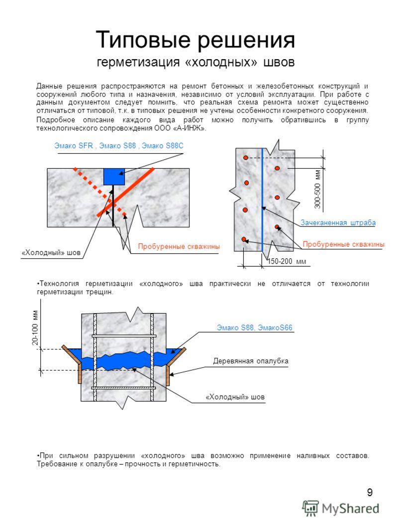 9 Типовые решения герметизация «холодных» швов Данные решения распространяются на ремонт бетонных и железобетонных конструкций и сооружений любого типа и назначения, независимо от условий эксплуатации. При работе с данным документом следует помнить,
