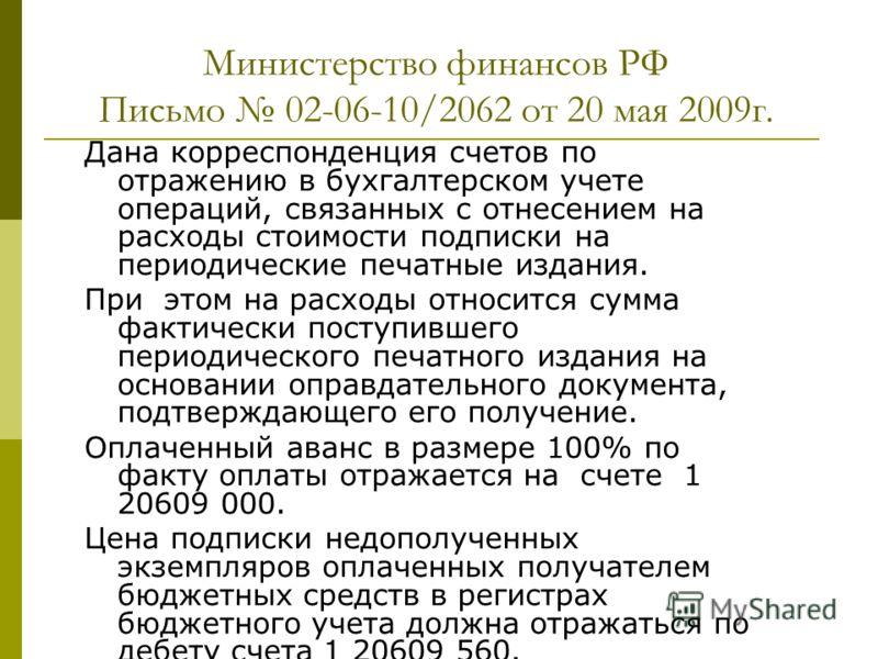 Министерство финансов РФ Письмо 02-06-10/2062 от 20 мая 2009г. Дана корреспонденция счетов по отражению в бухгалтерском учете операций, связанных с отнесением на расходы стоимости подписки на периодические печатные издания. При этом на расходы относи