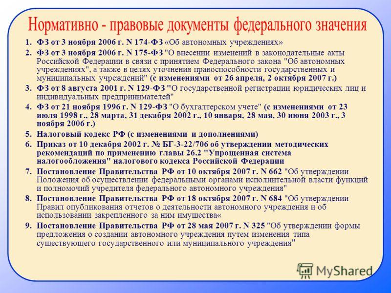 1.ФЗ от 3 ноября 2006 г. N 174-ФЗ «Об автономных учреждениях» 2.ФЗ от 3 ноября 2006 г. N 175-ФЗ