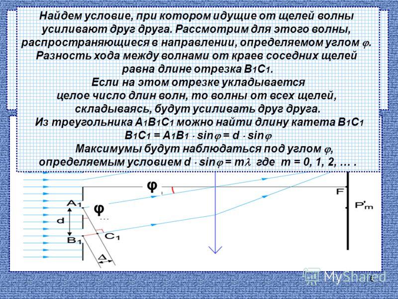 6 Рассмотрим элементарную теорию дифракционной решетки. Пусть на решетку падает плоская монохроматическая волна длиной. φ φ Найдем условие, при котором идущие от щелей волны усиливают друг друга. Рассмотрим для этого волны, распространяющиеся в напра